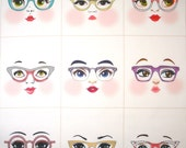 Glasses girls cloth doll faces ready to sew fabric panel white A3W
