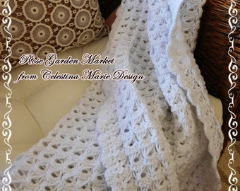 Sparkling Snow Winter Lacy Lap Throw, Hand Crocheted, Signature Design, Home Decor, Winter Lap Throw, Holiday Accent, ECS
