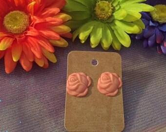Pale Pink Rose Earrings