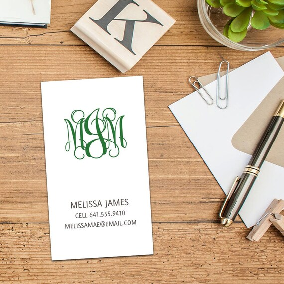 Curly Monogram Calling Card, Simple Monogram Business Cards, Set of Fifty Cards, Set of 100 Cards, Elegant Monogram Calling Cards