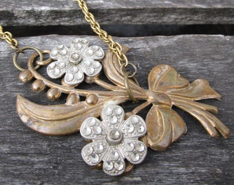 Bronze Bouquet Necklace - vintage repurposed floral pendant on bronze necklace - Free Shipping to USA