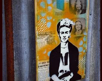 Frida Original Graffiti Art Painting on Wood Panel RePurposed Ply Wood Frida Kahlo Art