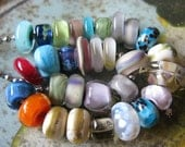 on sale ~ autumn orphans lampwork bead sampler  (mostly small beads) by Ellen Dooley Lampwork Handmade Glass Beads SRA (30)