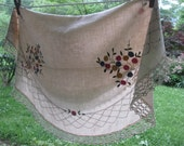 Small Round Vintage Embroidered Tablecloth/ Topper - Beige Cotton With Tatted Lace