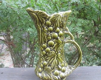 Vintage McCoy Pottery Pitcher - Olive Green Grapes Pitcher/ Vase