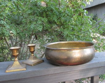 Vintage Brass Bowl and Candlesticks - Brass Candle Holders and Bowl - Gift