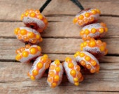 Mini Donuts- Amber and Orange (Set of 10 lampwork beads, 5mmX10mm)