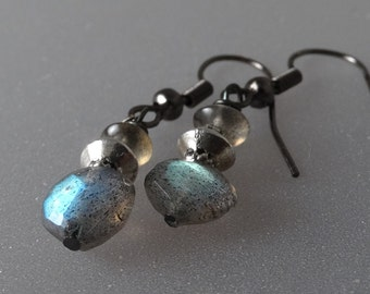 Sterling Silver disk and earthy faceted labradorite earrings.
