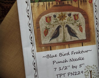 Mailed Punch Needle Paper Pattern Blue Bird Fraktur Weavers Cloth