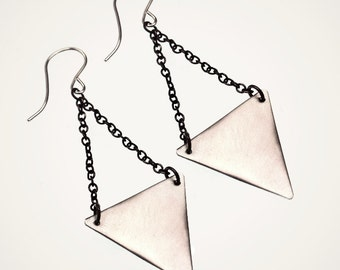 sterling silver triangle earrings with antique brass chain
