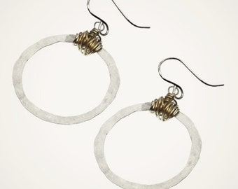 handmade hoop earrings, organic hoops earrings, mixed metal jewelry