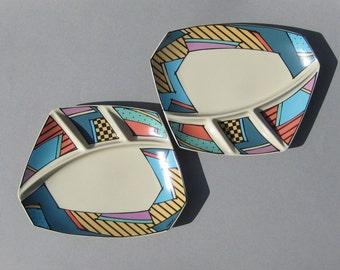 Rosenthal Flash Fondue Plates 1990s Dorothy Hafner Studio Line Continental BBQ Plates Germany Two