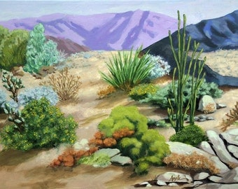 Landscape Day in the Desert - Palm Springs California ORIGINAL painting