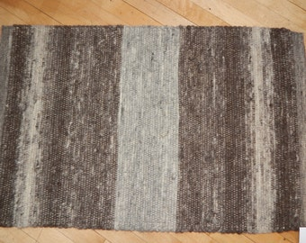 Handwoven Alpaca Rug in Natural Colors OOAK Home Decorating Handmade Floor Covering