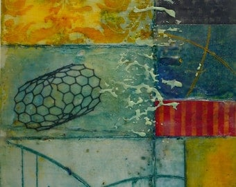 "Mixed-media, encaustic art, ""Nanotubes""."