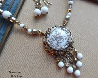 Flower Waltz, Antique Button Necklace with Czech Glass and Vintage Beads, Matching Earrings Included