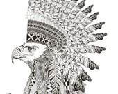 Eagle Coloring Page, Printable Coloring Pages, Adult Coloring Pages, Hand Drawn, Digital Illustration, INSTANT DOWNLOAD PRINT