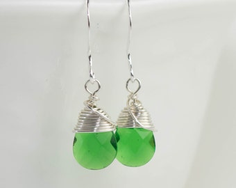 Emerald Green Silver Earrings, May Birthstone Earrings, Silver Wire Wrapped Earrings, Silver Earrings, May Birthday Jewelry