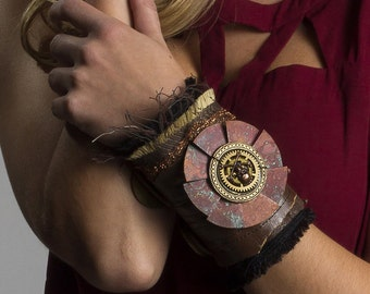 Steampunk Textile Wrist Cuff POST APOCALYPTIC Brown Leather Copper Mesh HuGE Gear Patina Skull Brass Tags - Steampunk Clothing by edmdesigns