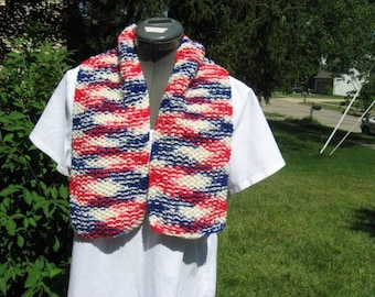 Patriotic Red, White and Blue Handknitted Scarf