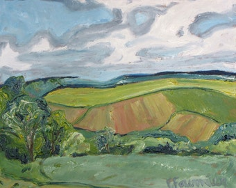 """Plein Air Landscape Oil Painting Original Impressionist Sky cloud  Eastern Townships Appalachian Quebec Canada By Fournier"""" Waving valley """""""