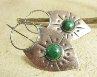 Large Malachite Earrings, Exotic Sterling Silver And Copper Earrings, Tribal Earrings, Mixed Metal Jewelry, Shield Earring, Copper Jewelry