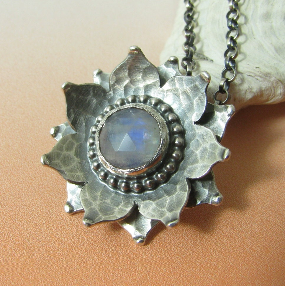 Moonstone Necklaces: Lotus Necklace Sterling Silver Rainbow Moonstone Necklace