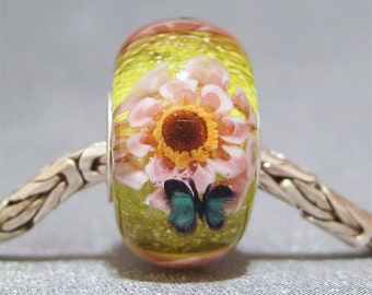 Green & Pink Handmade SRA Lampwork Glass Butterfly Big Hole Bead Pink Flower Garden