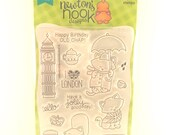 Newton Dreams of London, Newton's Nook Designs, Clear Stamp Set, Cat, Happy Birthday Old Chap, Big Ben Stamp, Phone Booth, Umbrella Stamps