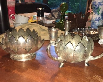 Trio of vintage silver plate lotus flower bowls with candleholders
