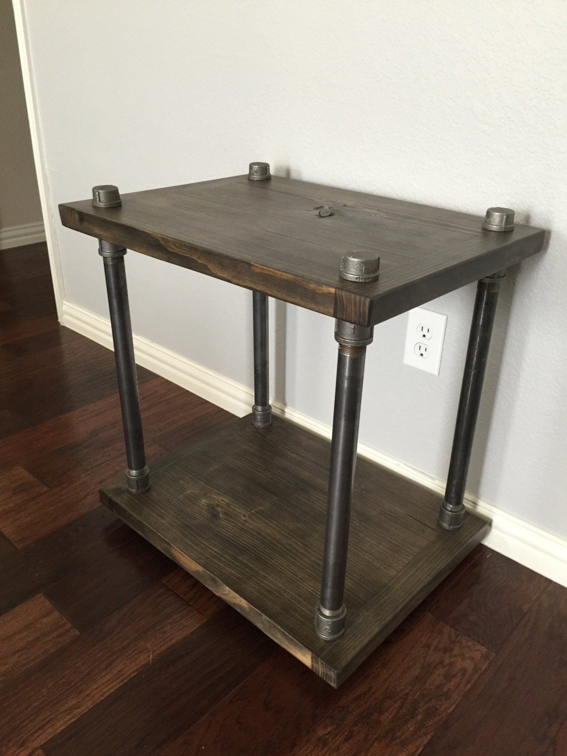 Rustic industrial end table wood and pipe for Rustic pipe table