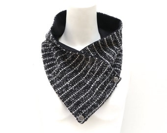 Black Gray Tweed Cowl Scarflette Scarf