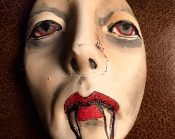 Vampire clay face jewelry horror craft supplies  handmade cabochon  large man  mask  polymer  findings doll parts head mask  tribal