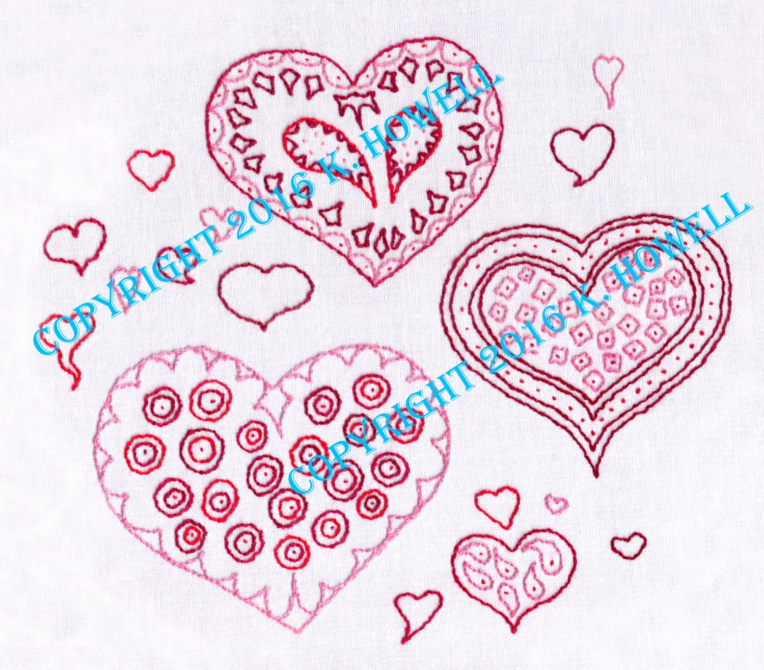 Hearts Hand Embroidery Pattern Paisley Love Valentine Cute Romance Romantic PDF From ...