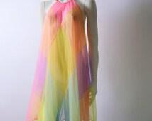 Vintage 60s Baby Doll Lingerie Sheer Pastel Diamond Patchwork