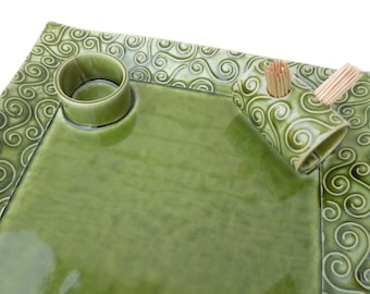 Large Green Textured Swirl Ceramic Pottery Appetizer Serving Toothpick Plate Tray