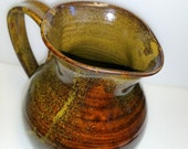 Large Wheel Thrown  Pottery Pitcher - It Holds 1 Quart or 4 Cups - Amber with Golden Flecks