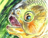 PIRANHA FISH, Original watercolor painting by Akimova - sea, animal, water, aquarium, decoration