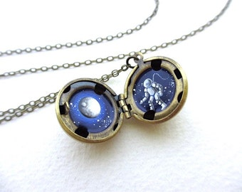Oil-Painted Locket, Tiny Astronaut in Outer Space, Unique Necklace