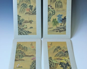 ON SALE.....Set of 4 original Chinese landscape painting drawing on silk - artist signed - mountains rivers trees