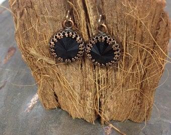 Black Swarovski Bezeled Rivoli Antique Copper Drop Earrings