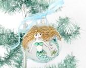 Mermaid Handpainted Ornament,Coastal Christmas Tree Decor,Mermaid Drawing,Mermaid Zentangle Xmas Bulb,OOAK Mermaid