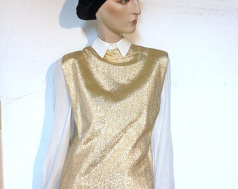 Gold Dress Gold Lame Dress Vintage 60s Mod Dress Size M Sheath Dress Mardi Gras *