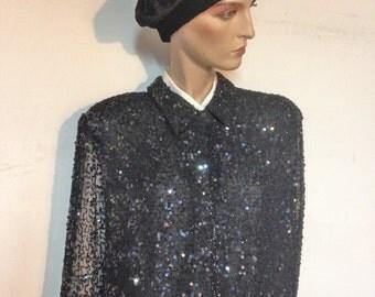 Sequin Jacket Black Silk Cardigan Formal Beaded Jacket Size Xl Plus Size 1X 80s