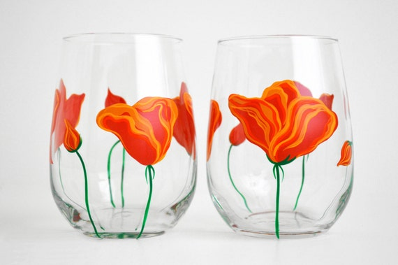 Orange Poppies Stemless Wine Glasses - Hand Painted Wine Glasses for Mom - Mothers Day Gift - Set of 2 stemless glasses, California Poppies