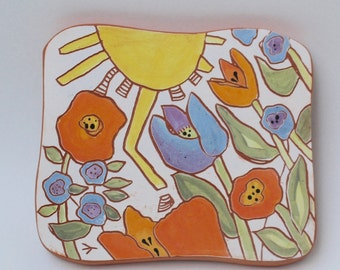 happy sunny day hand carved ceramic art tile