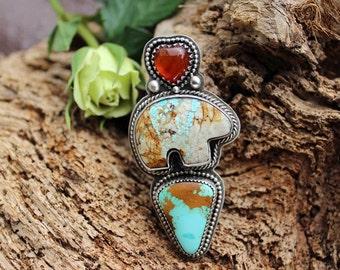 Totem Wildflower Heart, Zuni Bear, Arrow bezeled in Sterling Silver statement ring, size-6.00, gypsy, cowgirl, boho