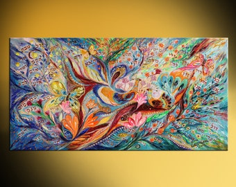 """61"""" Abstract figurative painting on canvas """"72 Names"""" orange green yellow blue color gold bold paint huge wall painting Israeli art"""