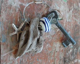Sea Treasures Keychain - Driftwood, Starfish, Glass, Nautical Keyring