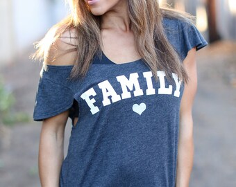 FAMILY Love. Off the Shoulder Flutter Sleeve Flowy Muscle Tee. Made in the USA. Off the Shoulder Lounge Tee. Family T-Shirt. Cozy Shirt.